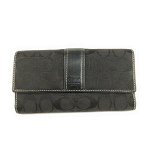 Coach Trifold Wallet Checkbook Black Signature